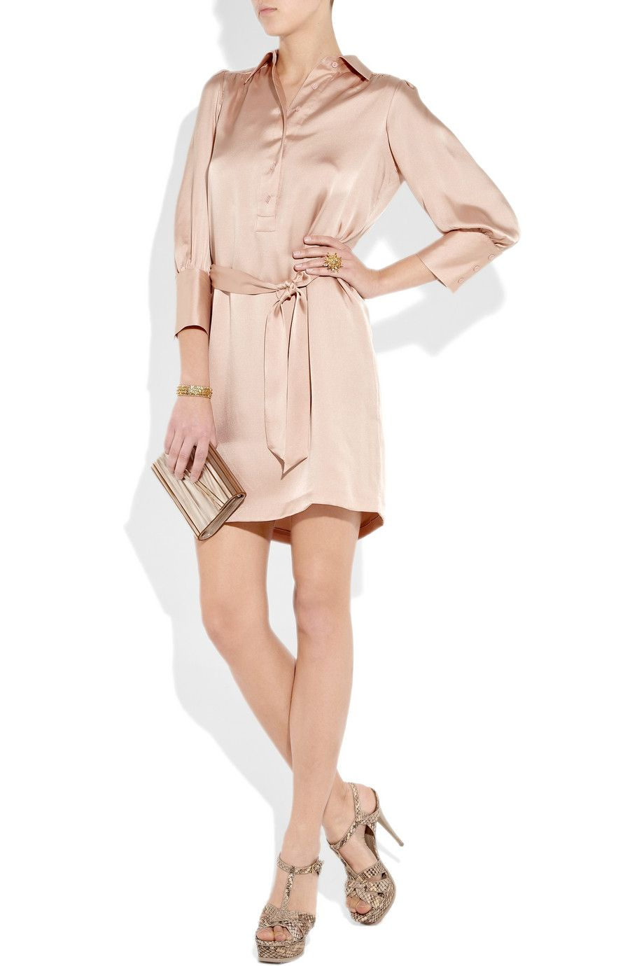 1b8067d64827f Halston Heritage Belted Silk Satin Shirt Dress in Rose Gold ...