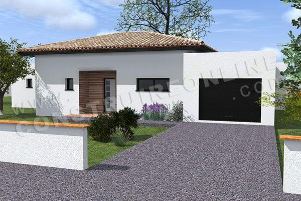 plan de maison moderne plain pied TEMPLATE (4) COULEUR SUR FACADE