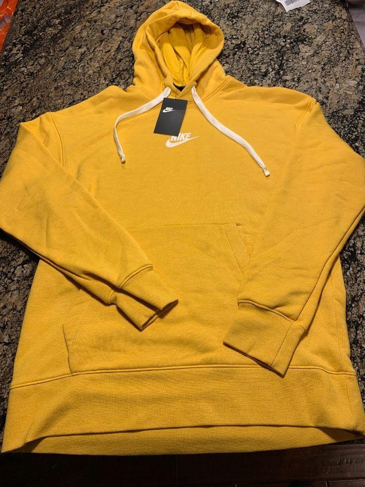 e90c1cae8e4e NIKE HERITAGE PULLOVER HOODY Hoodie Yellow White Size Medium 928437 752   Nike  Hoodie