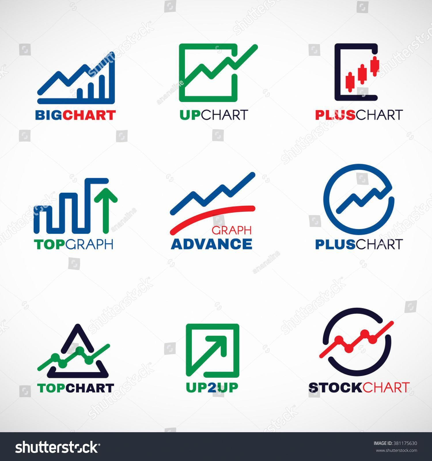 Stock Chart Or Market Business Graph Line Logo Vector Set Design Stock Charts Typography Branding Graphing