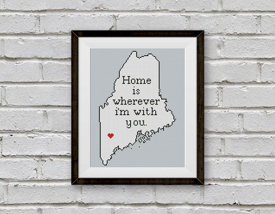 Superb Maine Cross Stitch Pattern, Maine Silhouette Map, BOGO FREE! Home Is  Wherever.