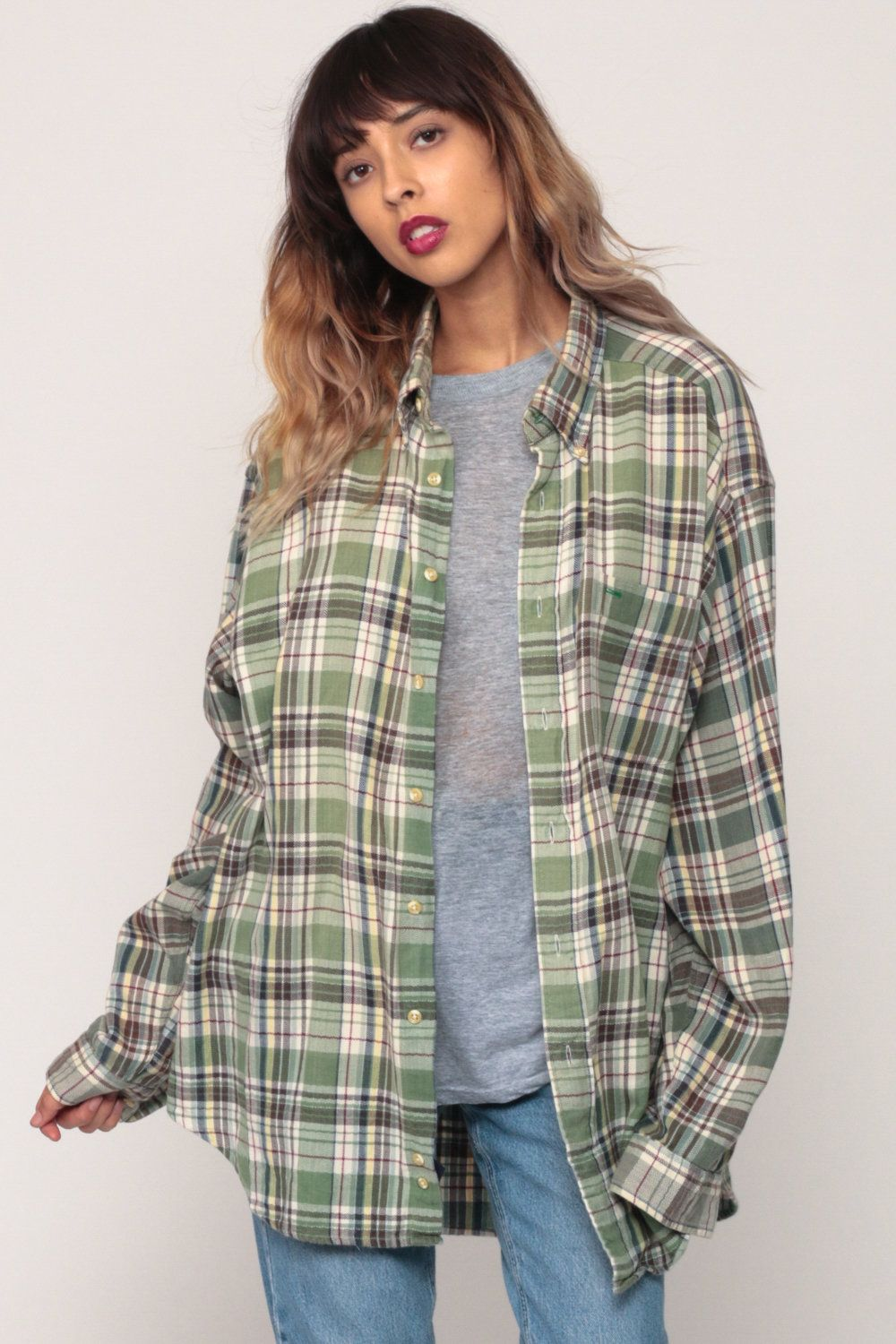 Flannel shirts 1990s  Green Flannel Shirt s Plaid Shirt Oversized Grunge Button Up s