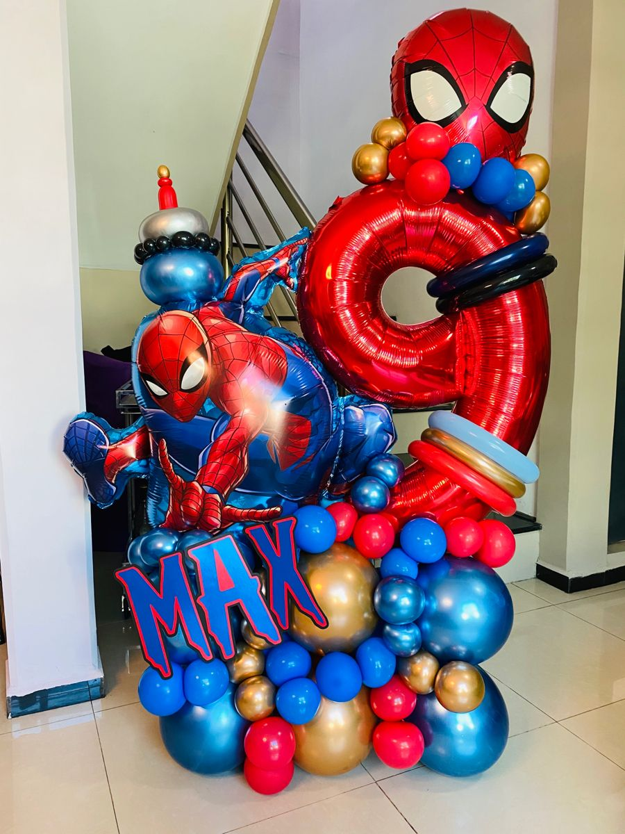 Spider-Man Birthday Party Supplies Balloon Bouquet Select from Age 1 to 9 Viva Party Balloon Collection