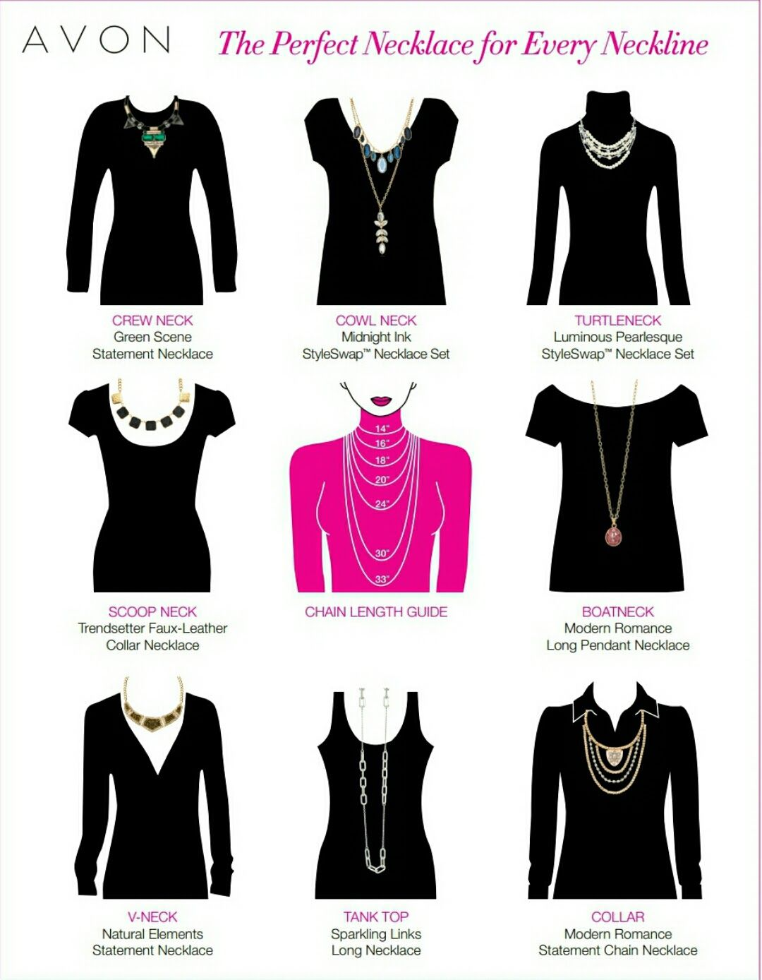From 14 to 33 necklace lengths heres a necklace length chart to from 14 to 33 necklace lengths heres a necklace length chart to help you figure out which style necklace to where with that top aloadofball Gallery