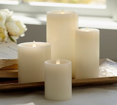 Pottery Barn Flameless Candles Flickering Flameless Wax Pillar Candle  Ivory #potterybarn