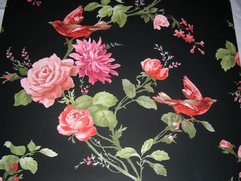 Vintage retro style shabby chic oriental black floral