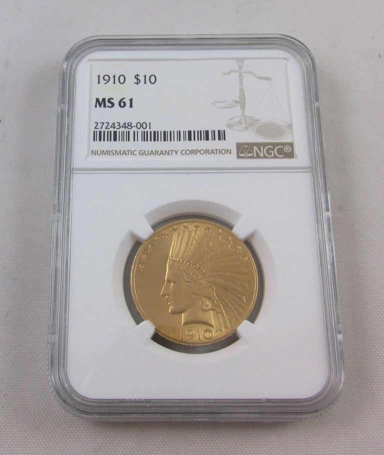 Ngc Certified Ms 61 1910 P 10 Ten Dollar Indian Head Eagle Gold Coin 10 Things Gold Coins Numismatics