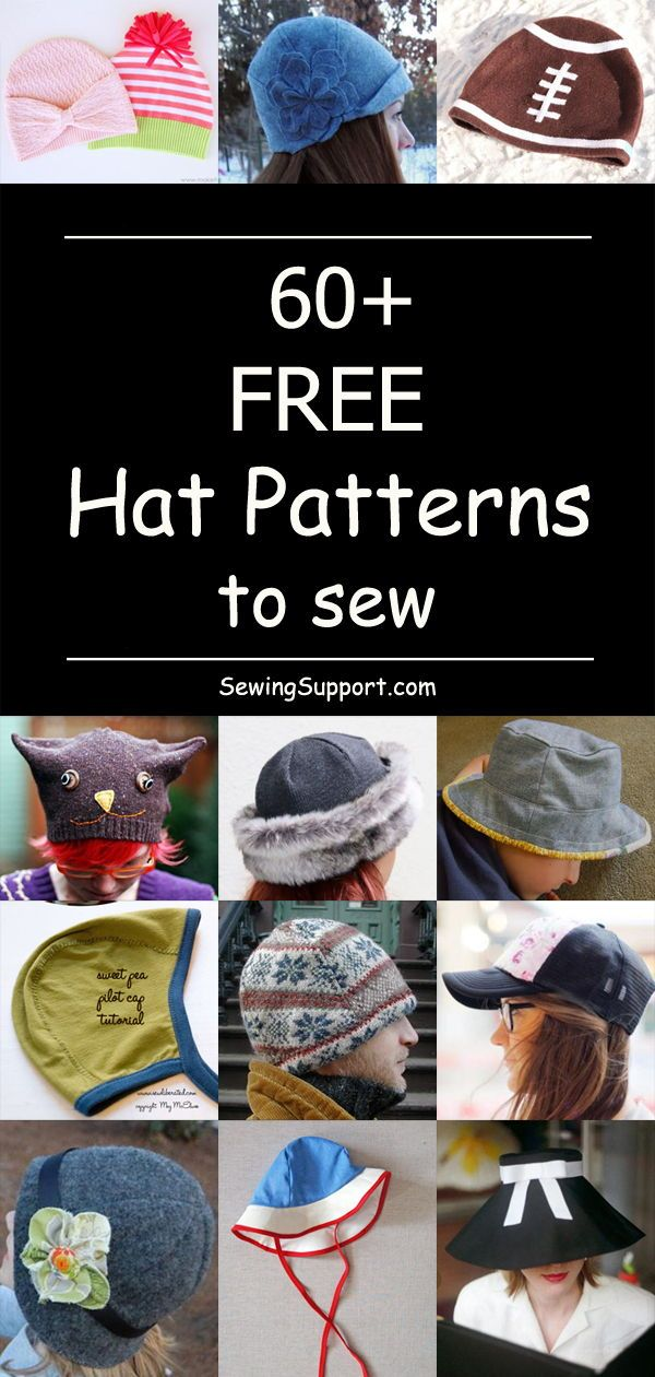 60+ Free Hat Patterns to Sew - Hat patterns to sew, Diy sewing pattern, Sewing hats, Cute sewing projects, Sewing patterns for kids, Mens sewing patterns - Over 60 free fabric hat sewing patterns