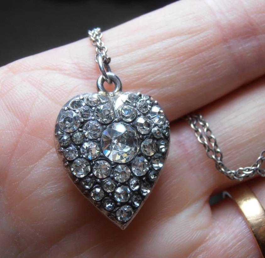 STUNNING VICTORIAN SILVER & FOILED DIAMOND PASTE HEART PENDANT & ORIGINAL CHAIN