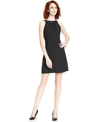 kensie Dress, Sleeveless High-Neck Faux-Leather Lace