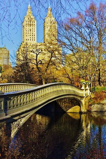 bow bridge central park autumn new york city br cke new york new york city. Black Bedroom Furniture Sets. Home Design Ideas