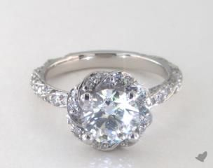 SKU 41065 - An overlapping pave swirl halo with a pave swirl shank creates a dramatic display of fire and sparkle.  *Actual stone count and carat weight will vary due to size of the center diamond. *