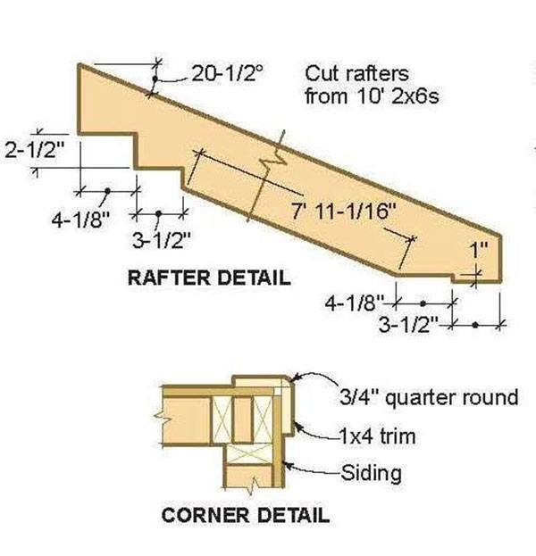 8x12 lean to shed plans 03 rafter details proyectos for Lean to house plans
