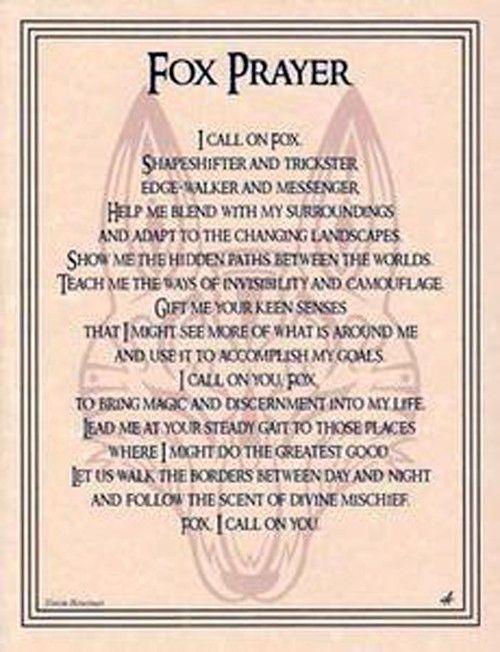 FOX PRAYER PARCHMENT POSTER Wicca, HOO DOO, pagan picclick com
