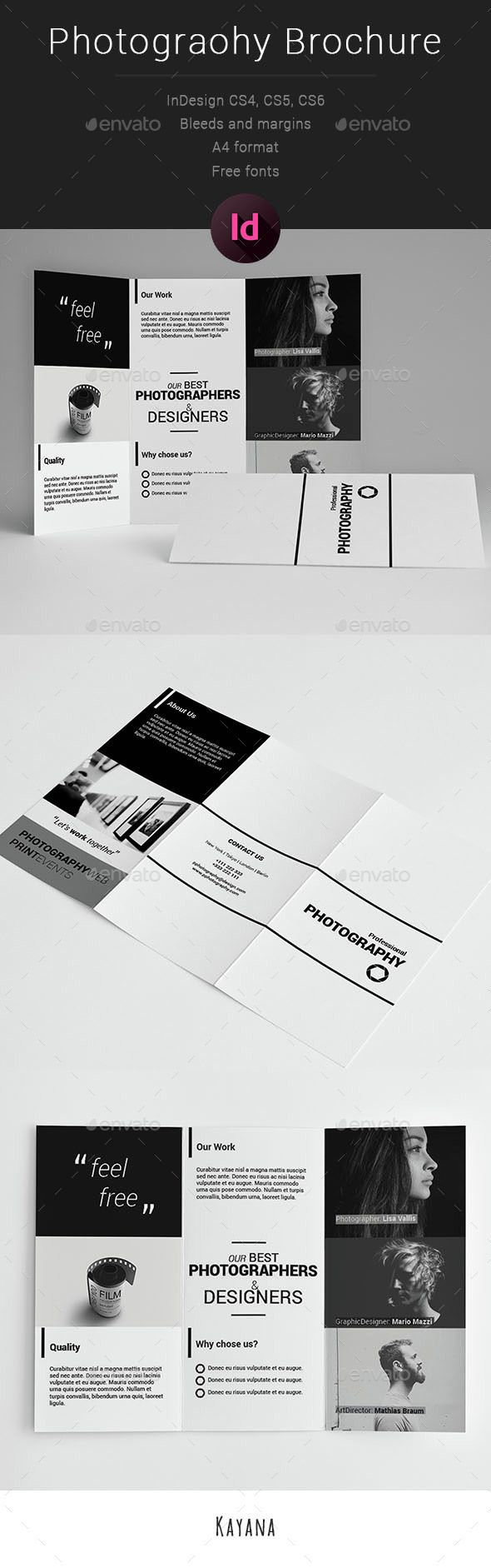 Professional Photography 3fold Brochure Template InDesign INDD #design Download: http://graphicriver.net/item/professional-photography-3fold/14552170?ref=ksioks