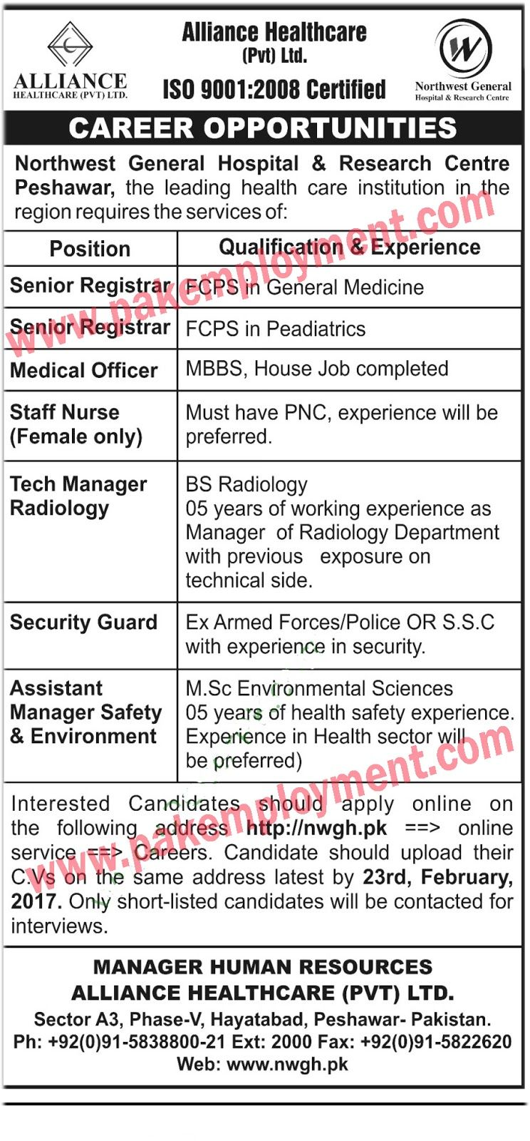 Pakistan Employment Alliance Healthcar Pvt Ltd Jobs Latest