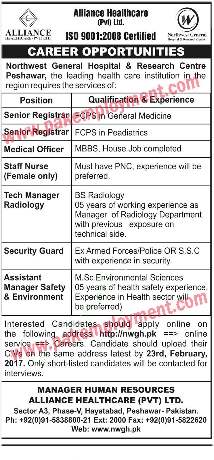 Pakistan Employment Alliance Healthcar Pvt Ltd Jobs Latest