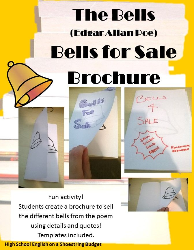 A Fun Activity To Do With The Poem The Bells By Edgar Allan Poe Students Will Create A B Teaching American Literature Teaching Middle School Student Created