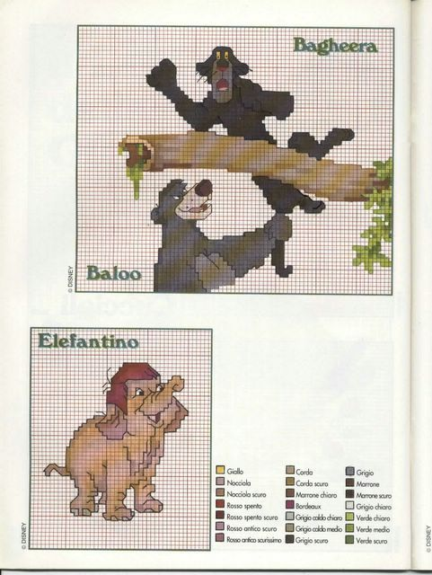 Bagheera Baloo e l'elefantino - magiedifilo.it punto croce uncinetto schemi gratis hobby creativi