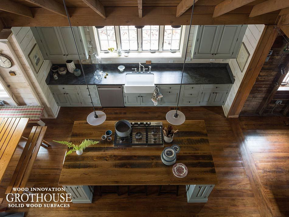 Reclaimed Oak Wood Countertops, Wood Bar Tops Custom Crafted By Grothouse  Of Distressed Old Wood