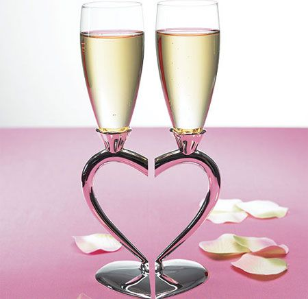 Silver Plated Interlocking Heart Stems With Glass Flutes These Are So Pretty Especially For A Wedding Toast
