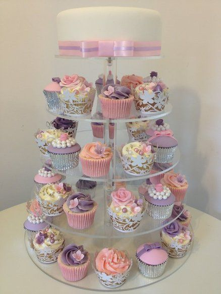 Wedding Cupcake Tower in Pink & Purples with top cutting cake ...