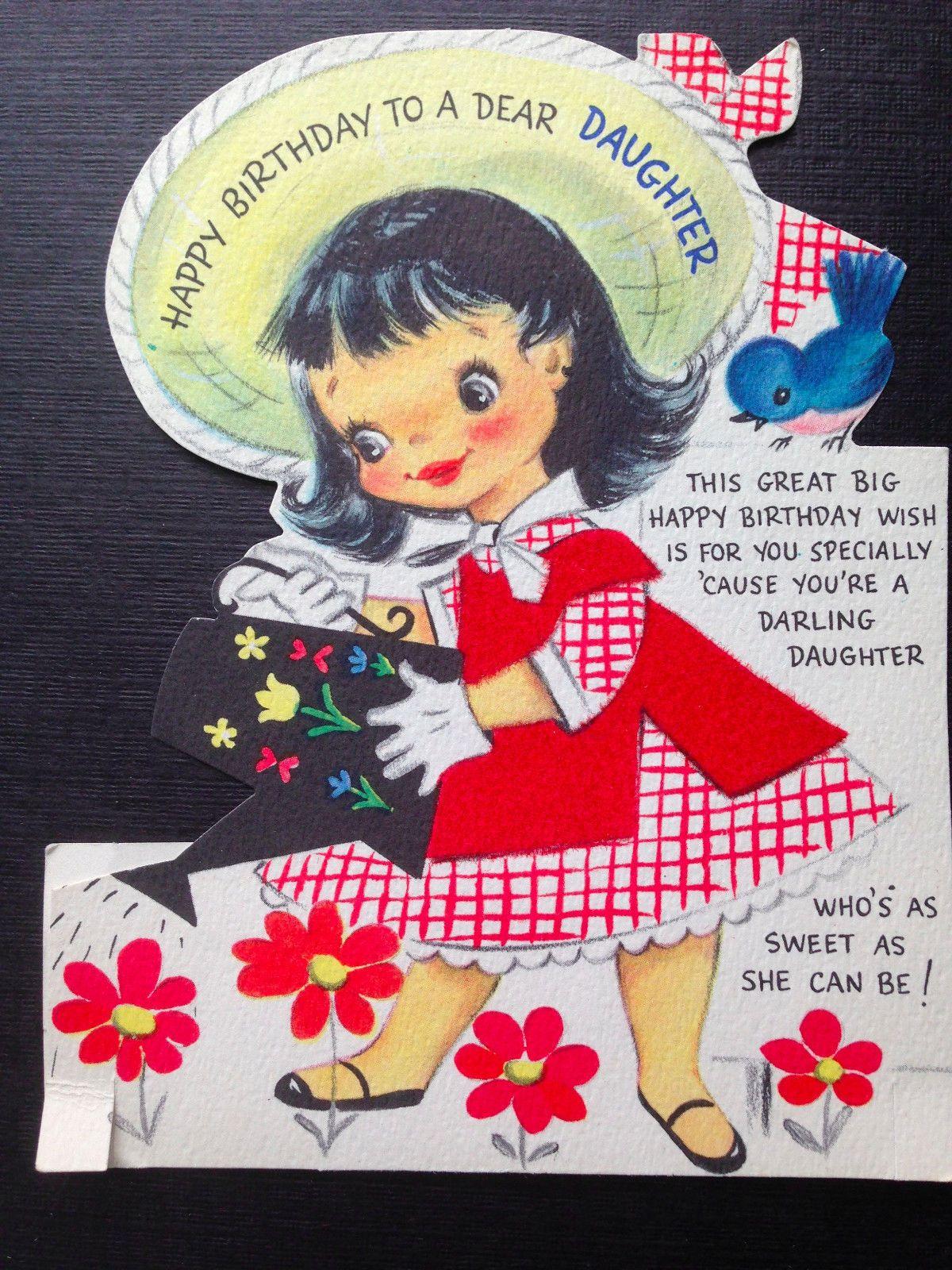 Vtg Hallmark Greeting Cards Lot 1950s Birthday Daughter Mothers Day Pretty Girls