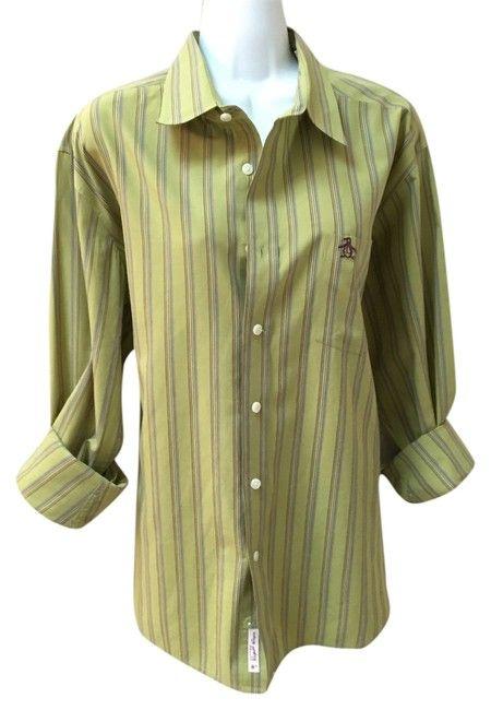 bbe32b748 Green with Purple Yellow Blue Stripes Vintage Mens Xl Lounge Casual  Boyfriend Shirt Button-down