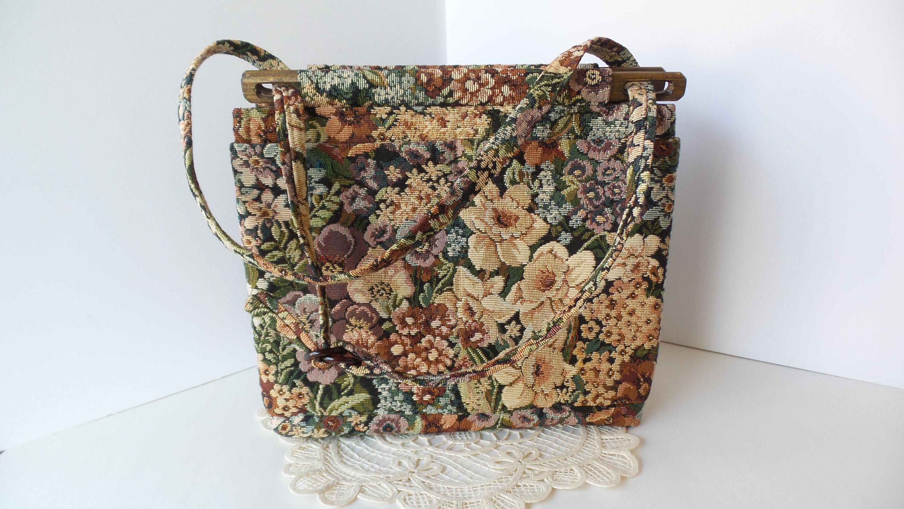 Vintage Tapestry Purse By Toby Weston Fl Retro Handbag Tote Woodland Hills California Pixiegoes2market On