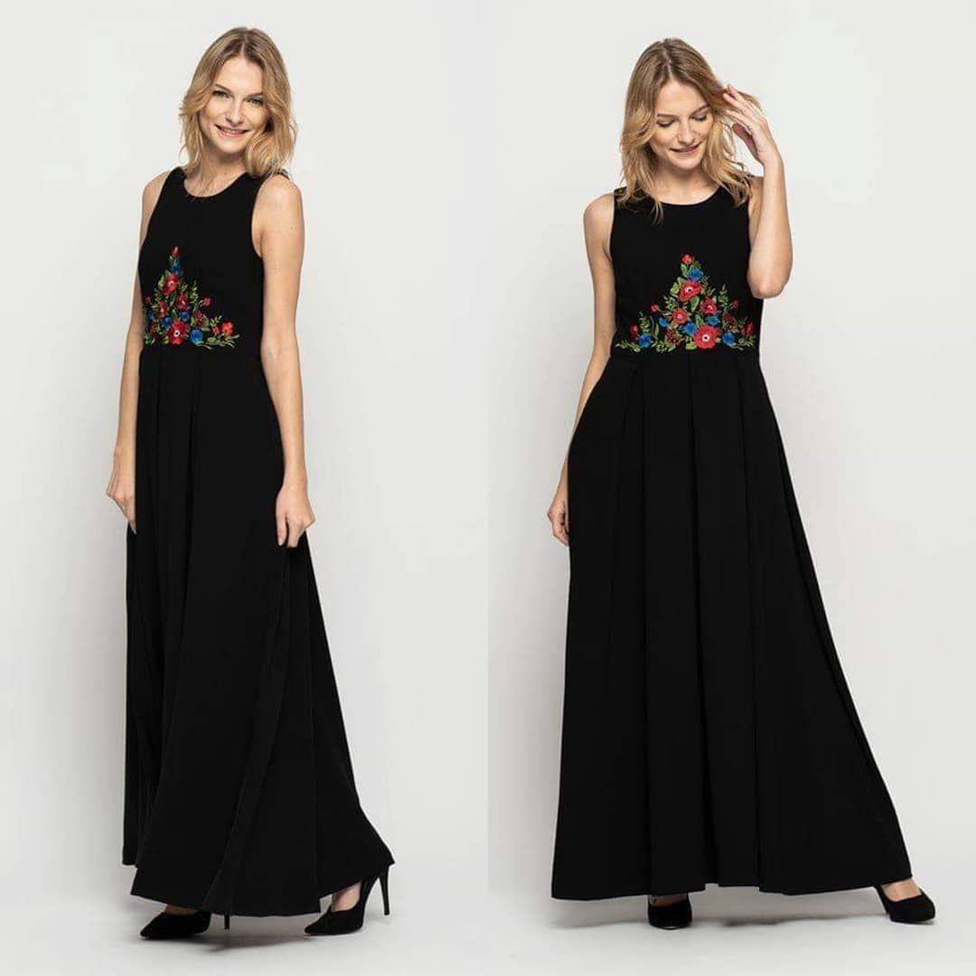 Czarna Dluga Sukienka Z Haftem Na Przodzie Www Bialcon Pl Index B4 604 11 Bialcon Brand Rabarbar Brand Moda Kobiet Fashion Dresses Bridesmaid Dresses