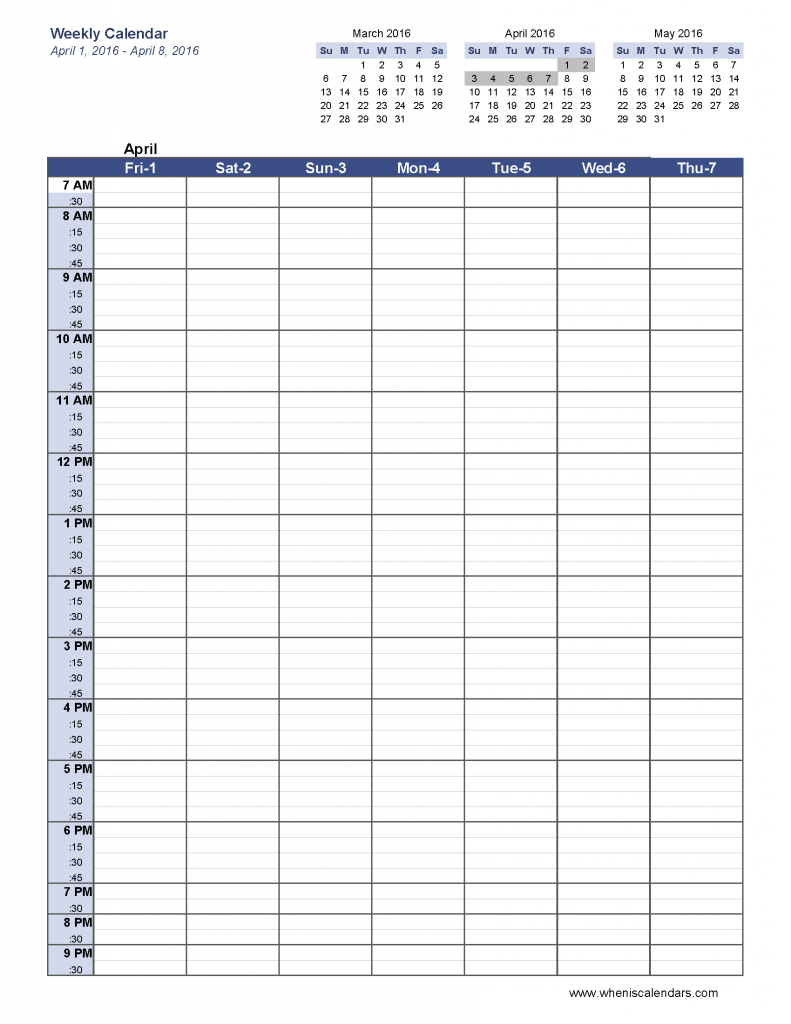 Calendar Planner Creator : Week blank schedule template weekly calendar