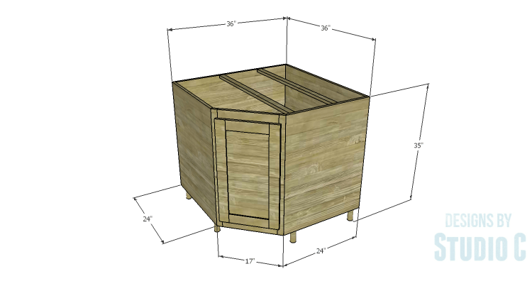 Diy Plans To Build A Diagonal Corner Base Kitchen Cabinet