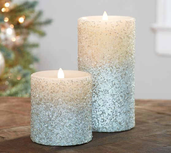 Pottery Barn Flameless Candles Magnificent Mirage Flameless Wax Pillar Candle  Silver Beaded  Pottery Barn