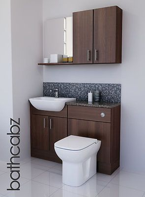 Amazing American #walnut Bathroom Fitted Furniture #1200mm With Wall #units /  Mirror , View