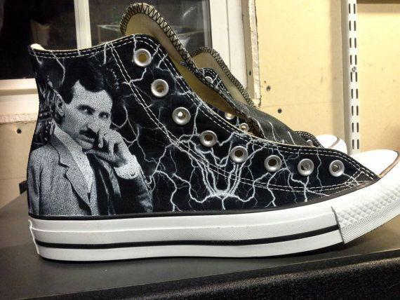 4190b899540 Nikola Tesla Custom Converse All Stars by ArkhamPrints on Etsy  BADASS!