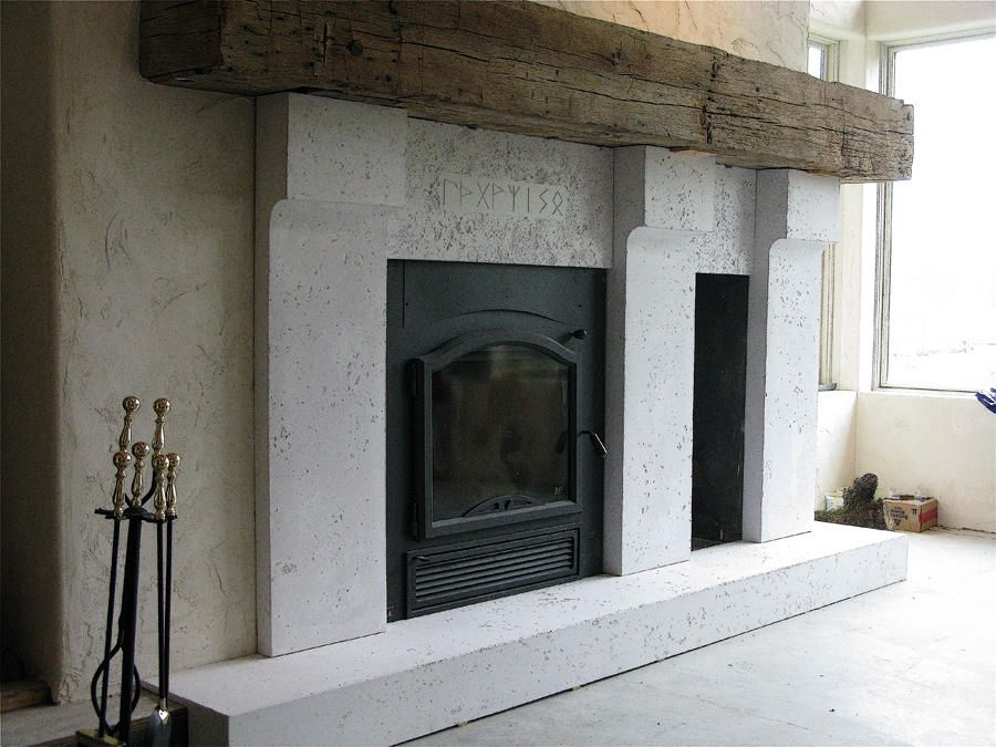 concrete fireplace with rustic wood mantel | For my Home ...