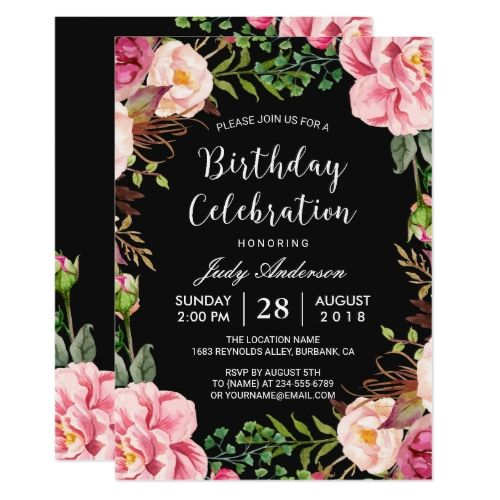 Pink Birthday Invitations Beautiful Floral Wreath Girly Party Card