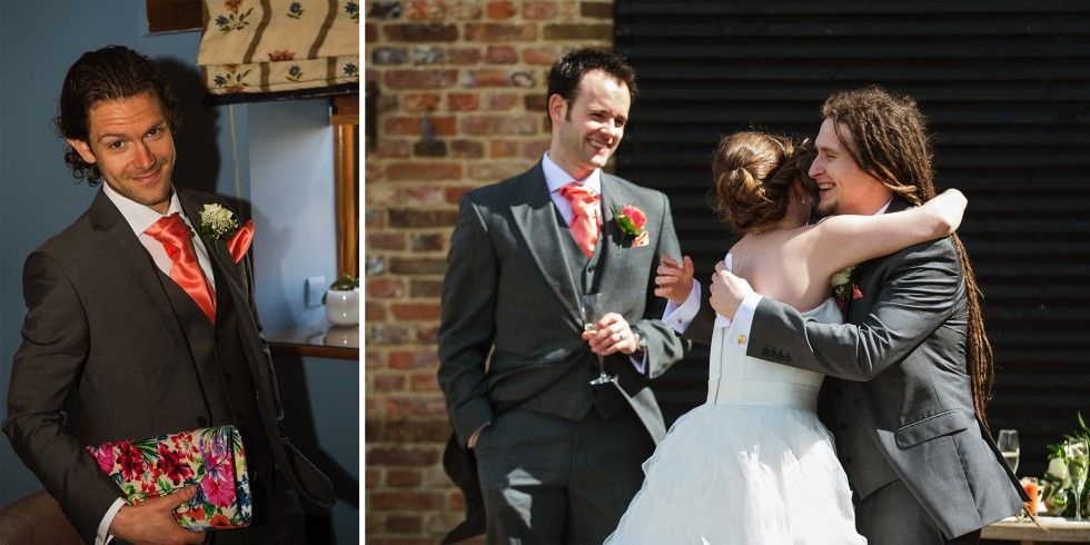 Bride and Groom + funny best man portrait. The Old Hall Ely, Cambridgeshire