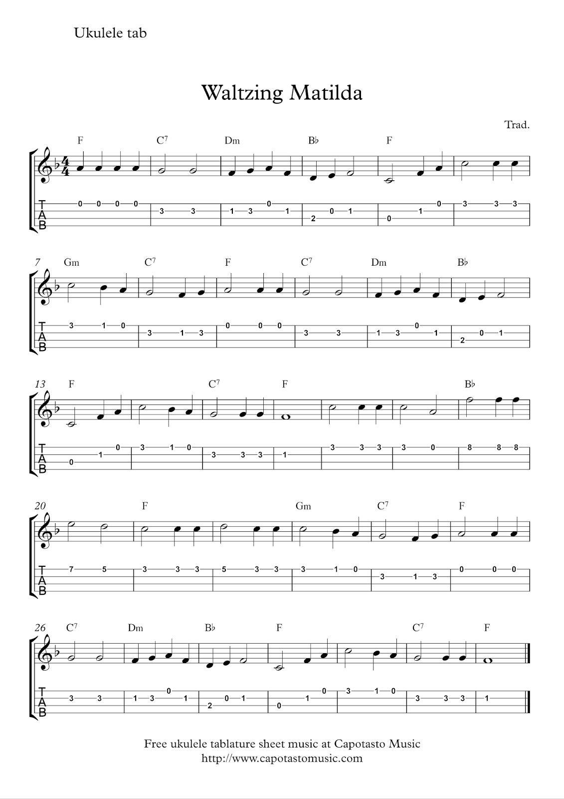Free Sheet Music Scores Free Ukulele Tab Sheet Music Waltzing