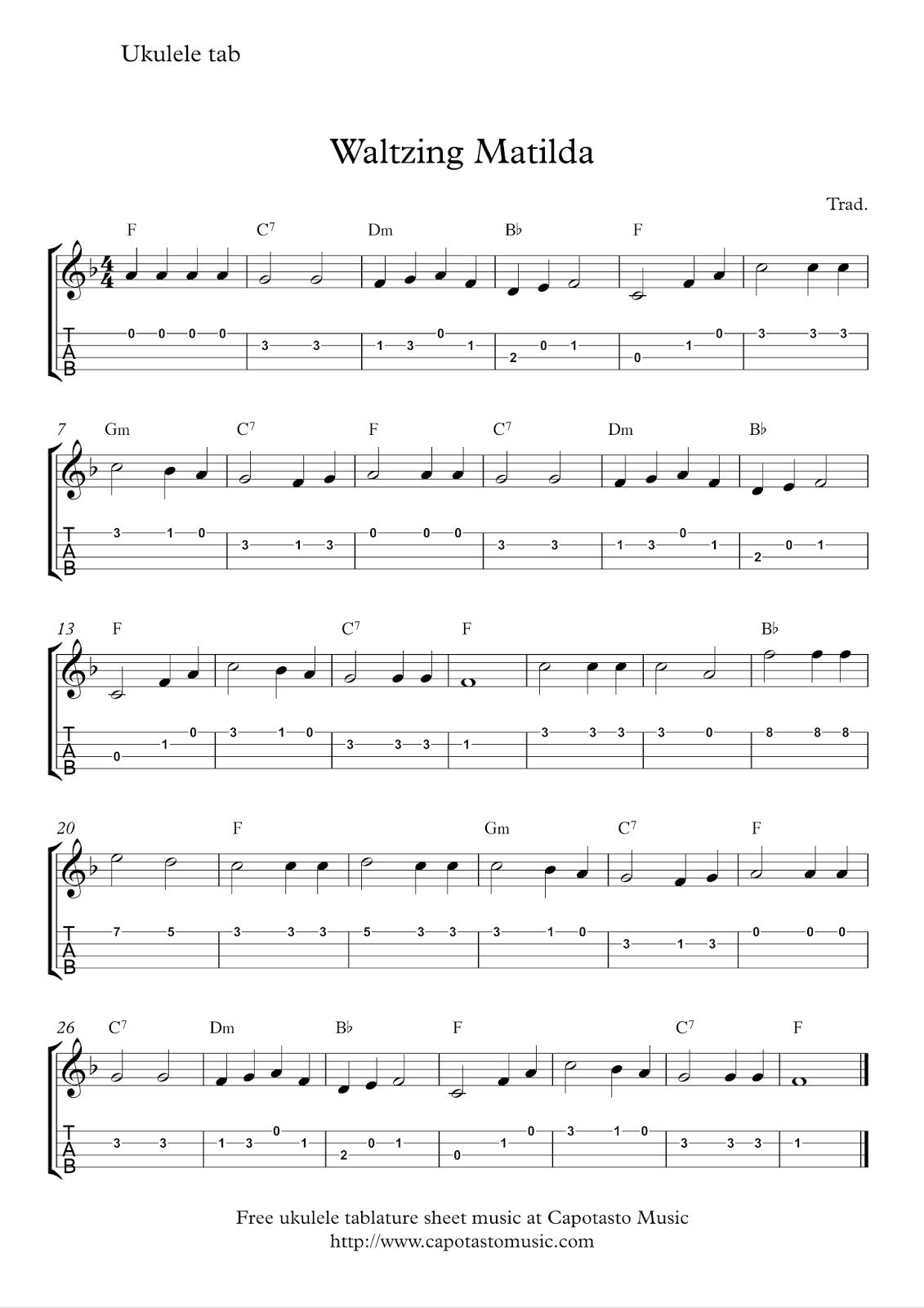 Free Sheet Music Scores Free Ukulele Tab Sheet Music Waltzing Matilda