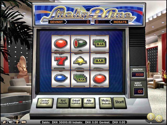 Lucky 8 Line er en spilleautomat med 9 tromler og 8 spillelinjer. Gevinster er mulige på en hvilken som helst af de 3 horisontale linjer, 3 vertikale linjer og/eller begge diagonaler.