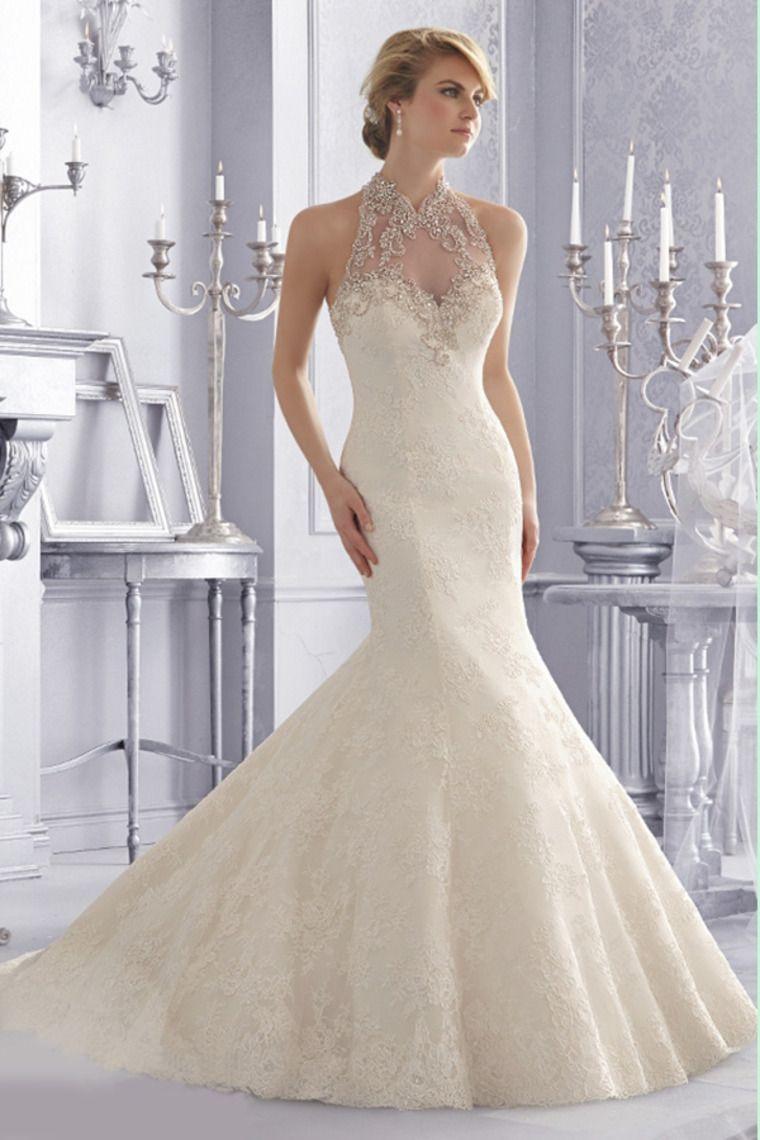 wedding dresses high neck trumpetmermaid chapel train tulle