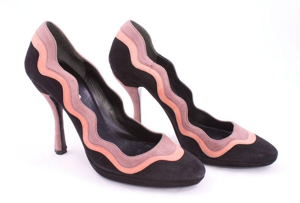 Scalloped Patent-leather Pumps - Black Prada vZsQ78B1c