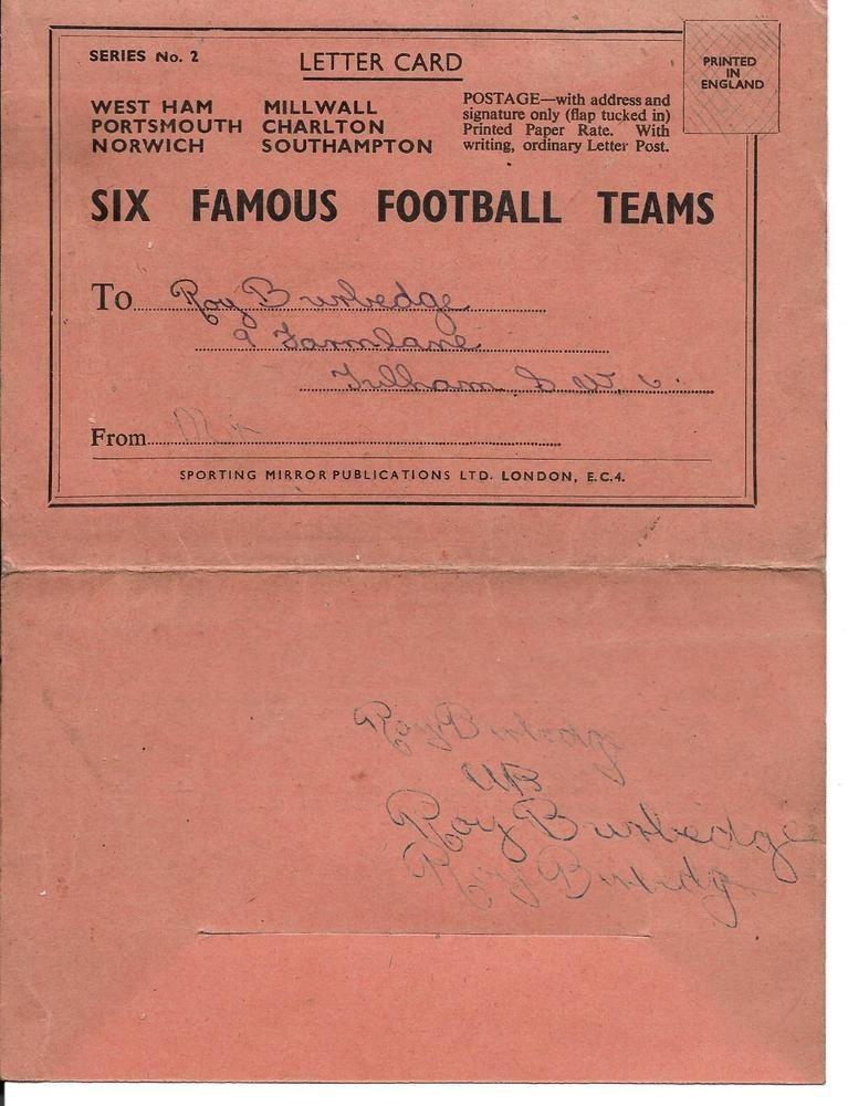 RARE SIX FAMOUS FOOTBALL TEAMS Series 1 Letter card 48