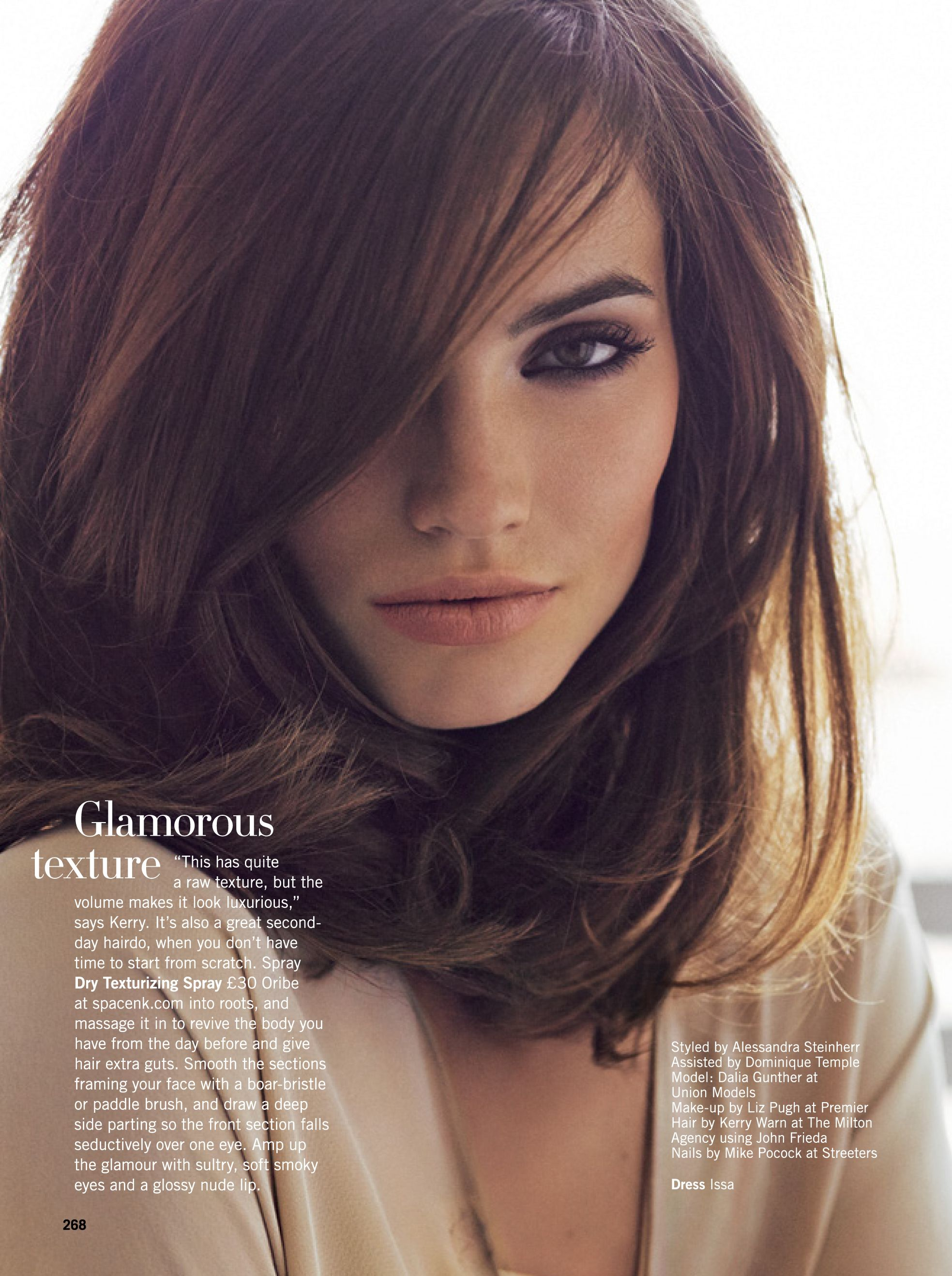 Mid Length Textured Hairstyles Dalia Guenther In Uk Glamour Magazine Textured Brunette Mid