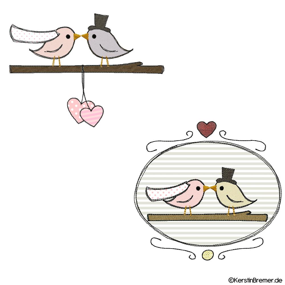 Vogel Hochzeit Doodle Stickdateien Set Stickdateien Hochzeit Zeichnung Sticken