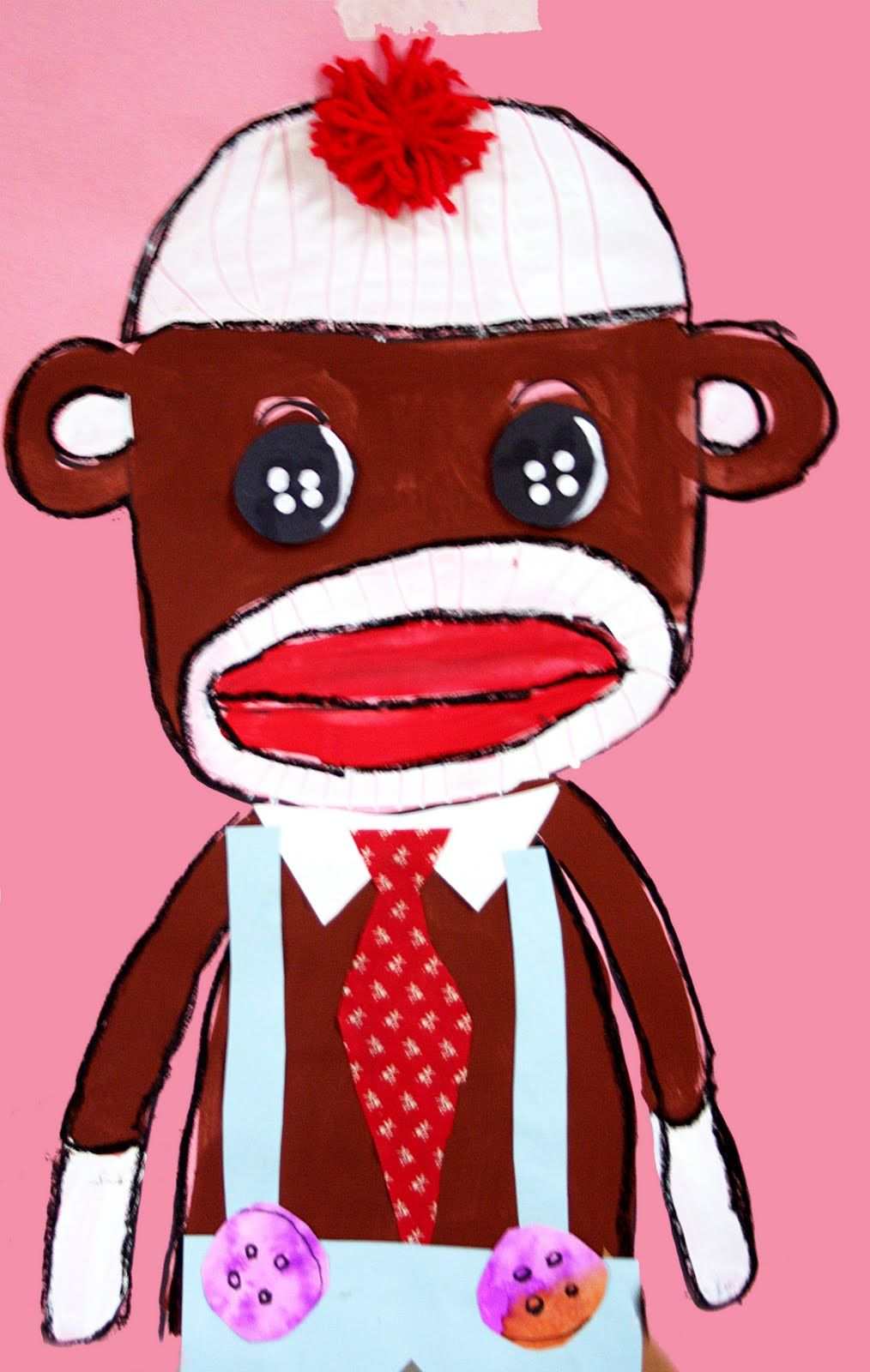 sock monkey collage   Directed Drawing   Pinterest