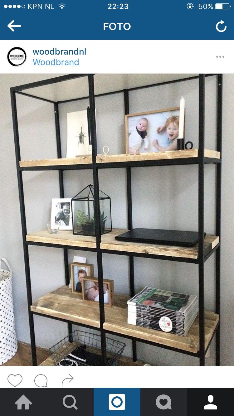 Metalen Stellingkast Ikea.Ikea Vittsjo Stellingkast Met Steigerhout Home