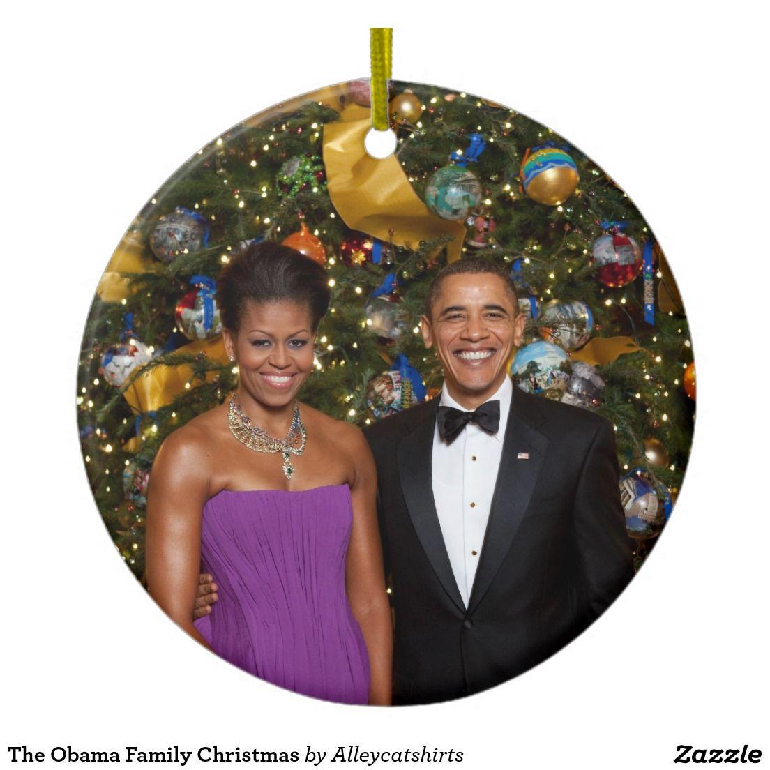 The Obama Family Christmas Double-Sided Ceramic Round Christmas ...