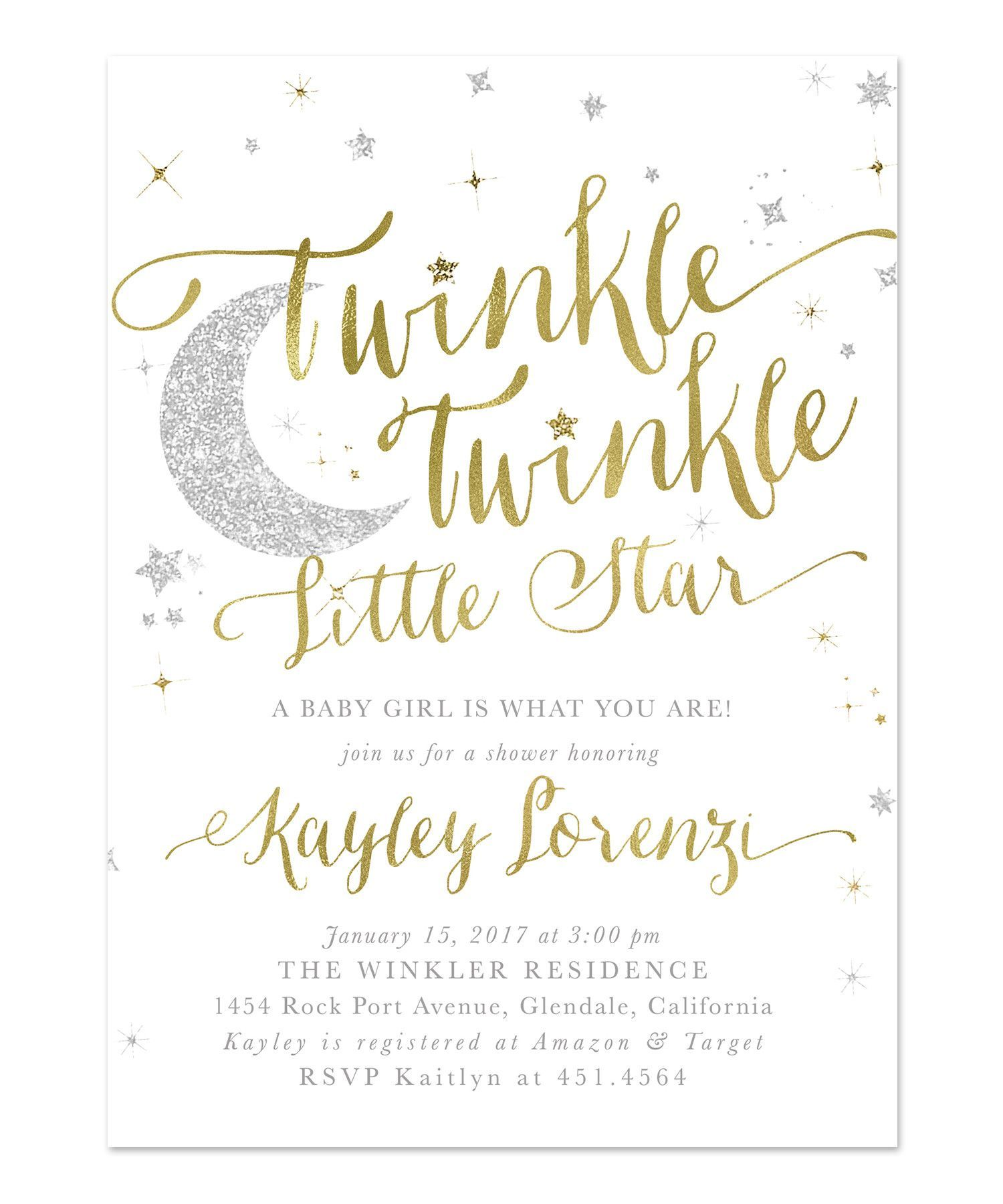 Twinkle Twinkle Little Star Baby Shower Invitation Wording : twinkle, little, shower, invitation, wording, Twinkle, Little, Shower, Invitation, {White}, Invitations,, Invitations, Pink,, Invites